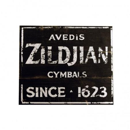 Cartel de madera Vintage Fabrica Zildjian 1623, 38x31.75cm