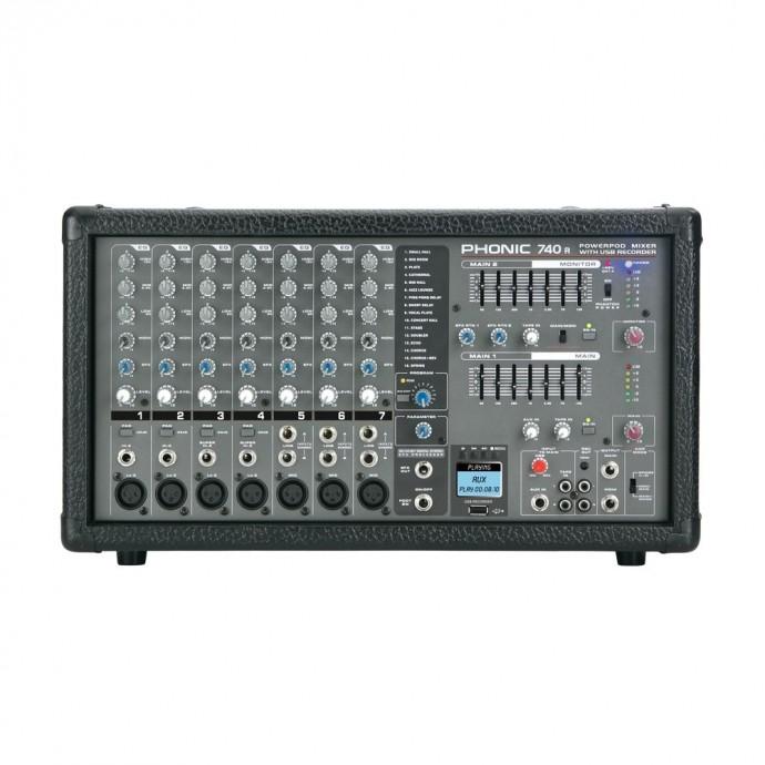 Cons Poten, 440w (2x220),7 Canales XLR, DFX, USB Recorder + Player, 2 Eq Graf 7 bandas (main/monit)
