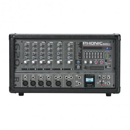 Cons Poten, 200w (2x100),6 Canales XLR, DFX, USB Recorder + Player, Eq Graf 7 bandas, Phanton Power