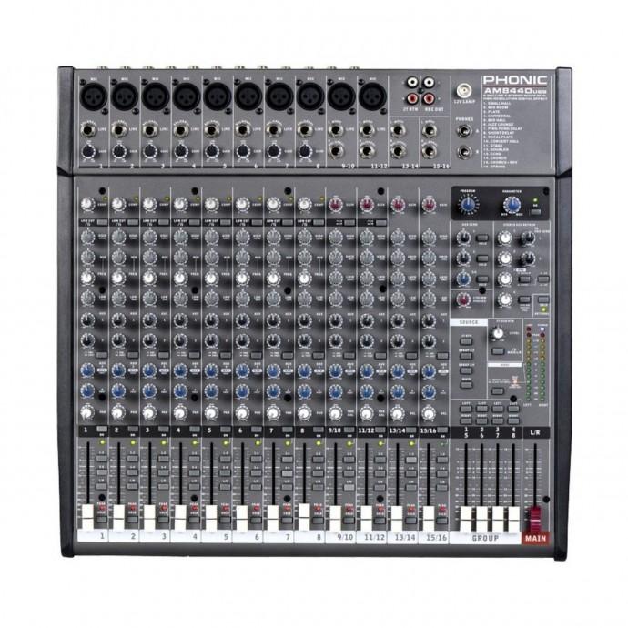 Mixer 8XLR/linea +4st, 4 grupos, DFX, Sal dir p/ grab Multitrack