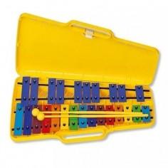 Metalofon, 25 notas en colores doble línea, c;estuche