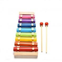 Metalofon, 8 notas en colores p;niño, base madera