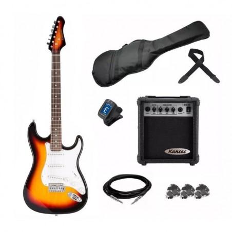 Kansas Pack GUIT SUNBURST (Guitarra+ Ampl10w + Afinad LCD+