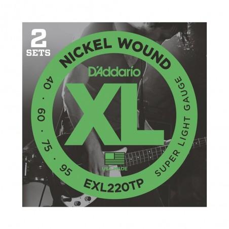 SET encordados p/bajo eléstrico EXL220-TP nickel, extra blandas, 040-095, 2 juegos, escala larga