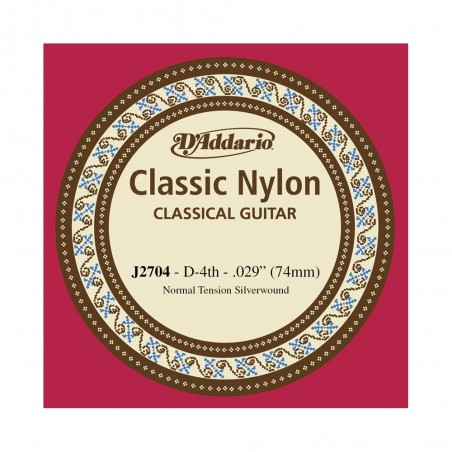 Cuerda suelta p/Guit clásica J2704 nylon, tensión normal, 4ta cuerda