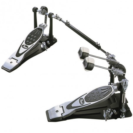 "Pedal de bombo doble ""Eliminator - Power Shifter""; mazo ""Qu"