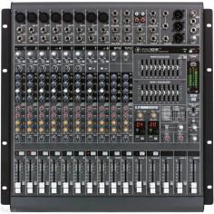 Mixer Potenciada, T;mesa, 12ch, 8xlr+4st, 800+800w, 4 Aux se