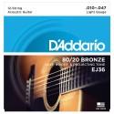 Encordado p/Guit acústica EJ36, de 12 cuerdas, blandas, 010-047