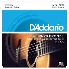 Enc. p;acustica 12 cdas, 80;20 Bronce, tensión light .010;