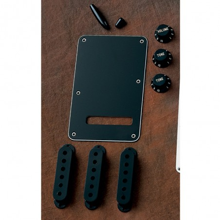 Kit Acc Plasticos Strato Negro, Tapas mic, perillas y tapa trasera