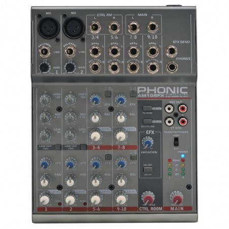 Mixer compacto AM105FX 2 Mic/Linea + 4st, Phantonm Multiefecto