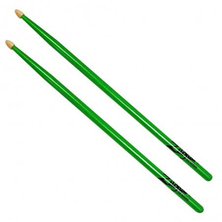 Palillos Hickory 5A punta de madera, NEON GREEN