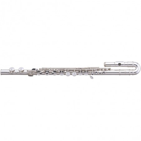 Flauta Traversa Alto, Dos cabezales curvo y recto, Coco Plata, silver plated, E part, c/est.