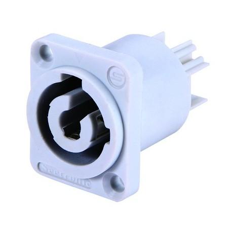 Conector powercon macho p/ chasis BLANCO (Cuadrado)