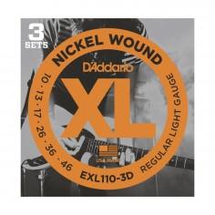 SET encordados p/Guit eléctrica EXL110-3D nickell, regular blandas, 010-046, 3 juegos