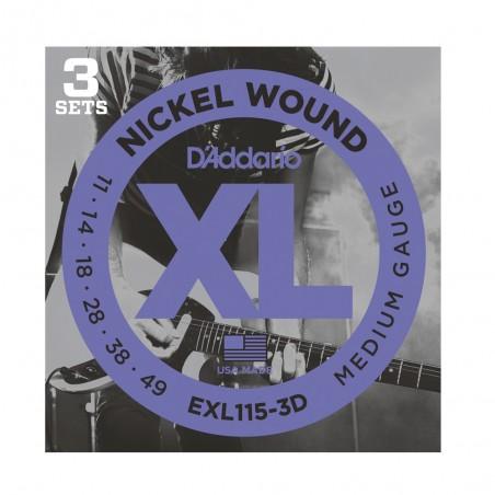 SET encordados p/Guit eléctrica EXL115-3D tensión media para Blues-Jazz Rock, 011-049, 3 juegos
