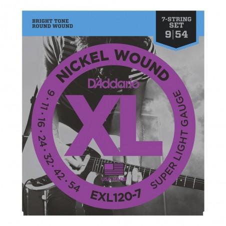 Encordado p/Guit eléctrica EXL120-7 nickel, 7 cuerdas, extra blandas, 009-054