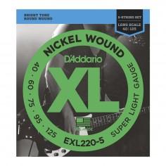 Encordado p/bajo eléctrico EXL220-5 nickel, de 5 cuerdas, extra blandas, 040-125, escala larga