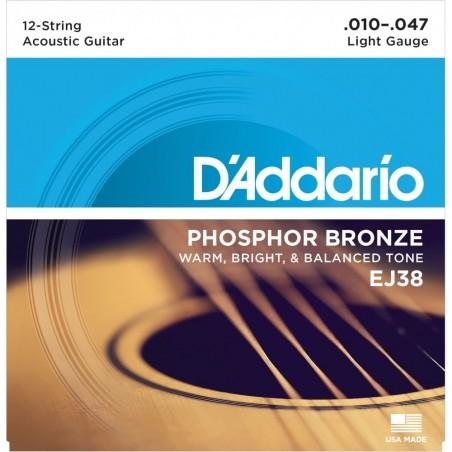 Enc. p;acustica 12 cdas, Bronce Fosfor,tensión light 010;01