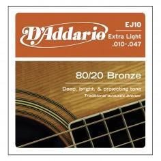 Enc. p;acustica 80;20 Bronce, tensión extra light .010;.014