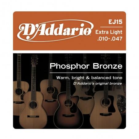 Encordado p/Guit acústica EJ15 extra blandas, 010-047