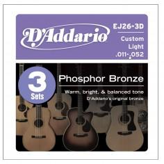 SET Encordado p/Guit acústica EJ26-3D, bronce fosforado 11-52, 3 juegos