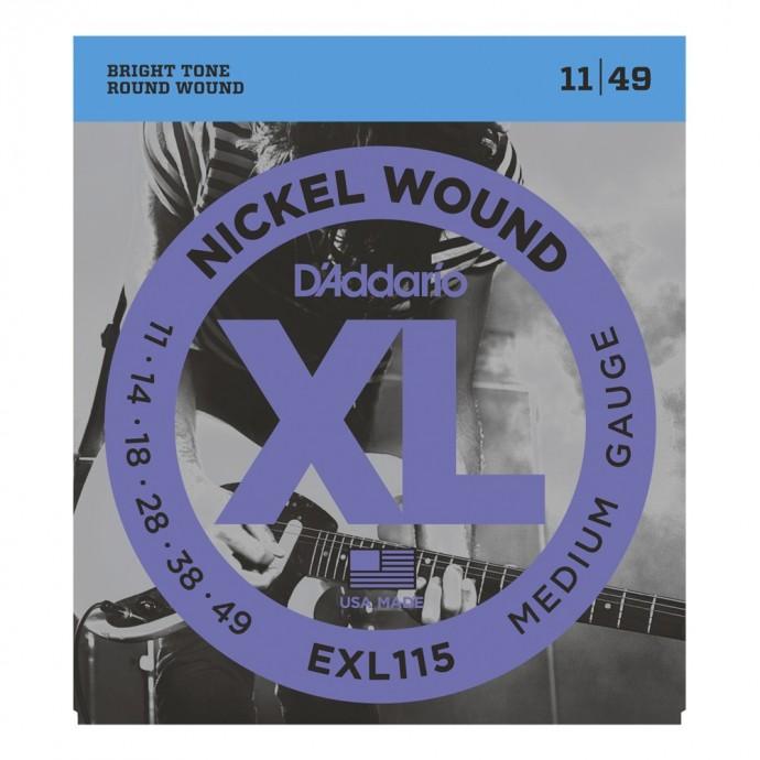 Encordado p/Guit eléctrica EXL115 de nickel, tensión media para Blues-Jazz Rock, 011-049