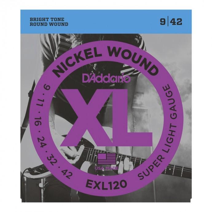 Encordado p/guit eléctrica EXL120 nickel, extra blandas, 009-042