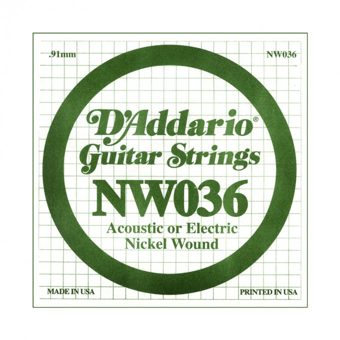 Cuerda suelta NW036 con entorchado en níquel p/guit eléctrica .036