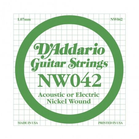 Cuerda suelta NW042 con entorchado en níquel p/guit eléctrica .042
