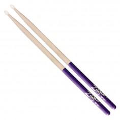 Palillos Hickory 5A punta de nylon con grip de goma purpura